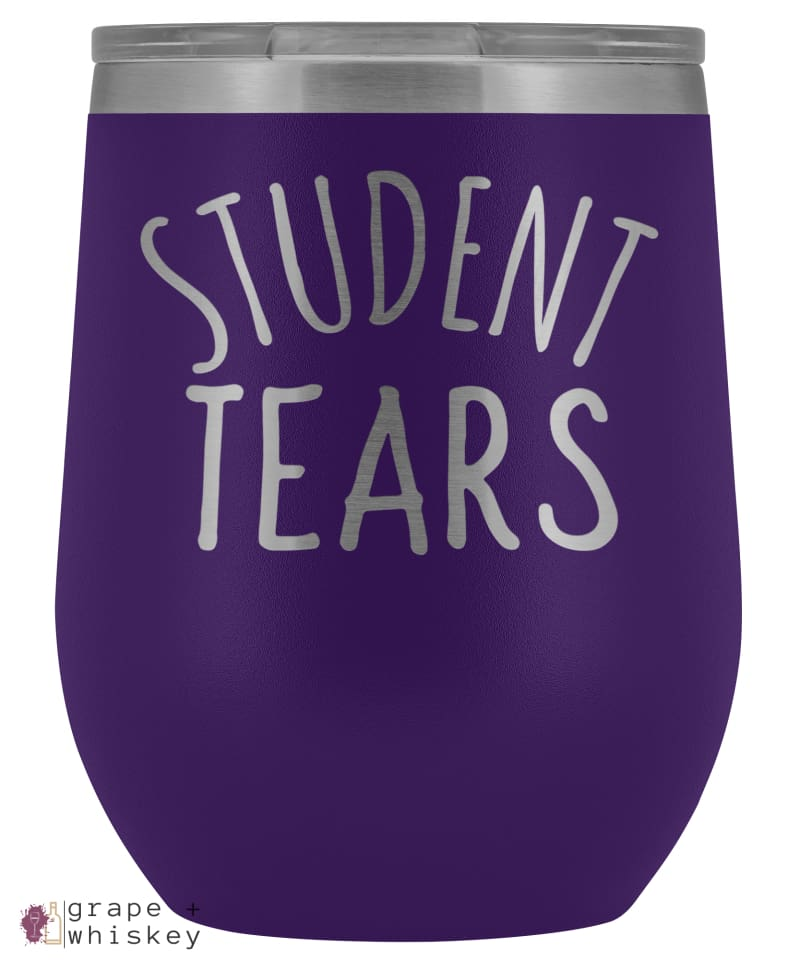 Student Tears 12oz Stemless Wine Tumbler with Lid - Purple - Grape and Whiskey