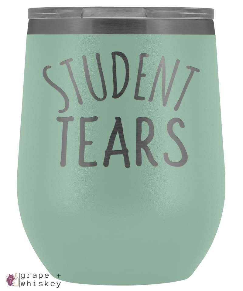Student Tears 12oz Stemless Wine Tumbler with Lid - Teal - Grape and Whiskey