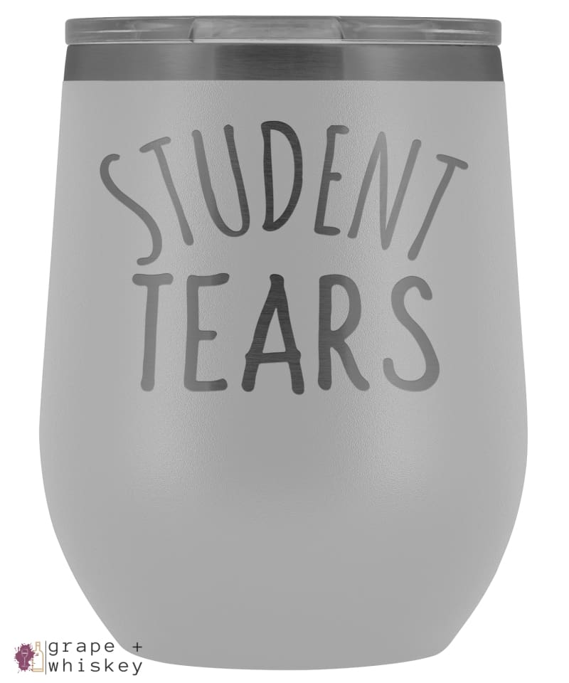 Student Tears 12oz Stemless Wine Tumbler with Lid - White - Grape and Whiskey