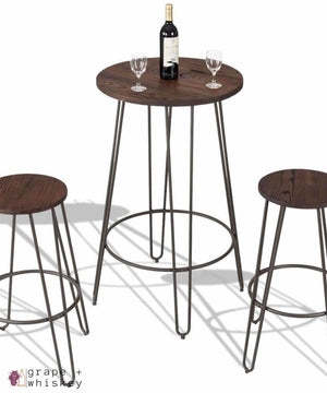 Three Piece Bistro Bar Table Set - Default Title - Grape and Whiskey
