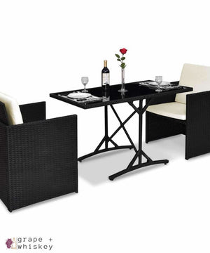 Three Piece Black Rattan Set with Cushions - Default Title - Grape and Whiskey
