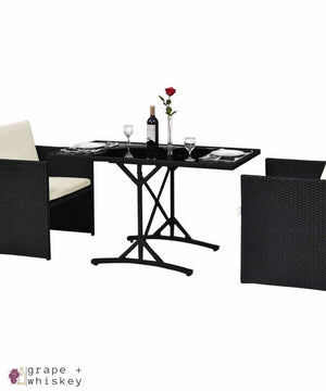 Three Piece Black Rattan Set with Cushions -  - Grape and Whiskey