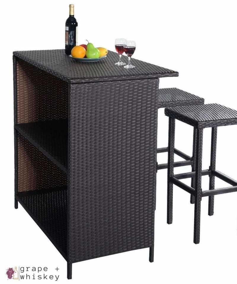 Three Piece Rattan Wicker Bar Furniture Set -  - Grape and Whiskey