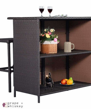 Three Piece Rattan Wicker Bar Furniture Set - Grape + Whiskey - grapeandwhiskey.com
