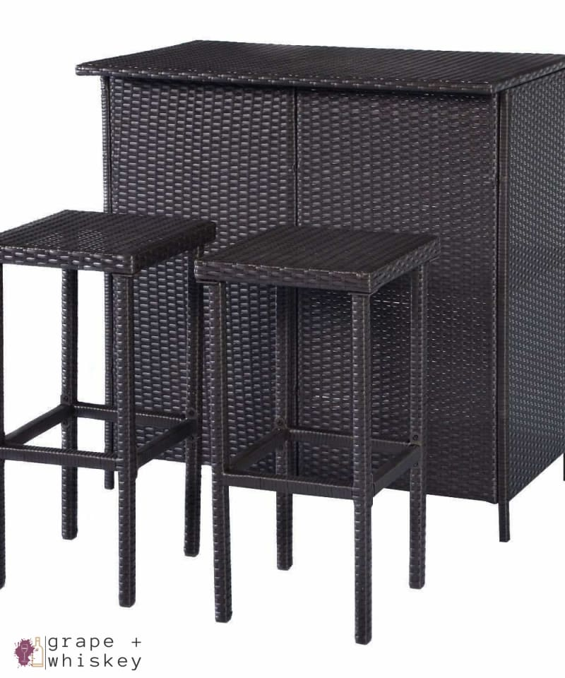 Three Piece Rattan Wicker Bar Furniture Set - Default Title - Grape and Whiskey