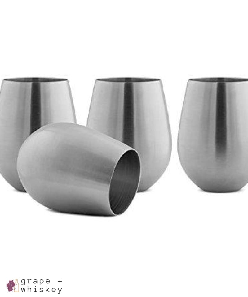 Vino Innovations Stainless Steel Stemless Wine Glasses, Set of 4, 18oz -  - Grape and Whiskey