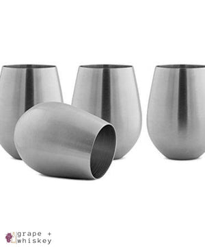 Vino Innovations Stainless Steel Stemless Wine Glasses, Set of 4, 18oz - Grape + Whiskey - grapeandwhiskey.com