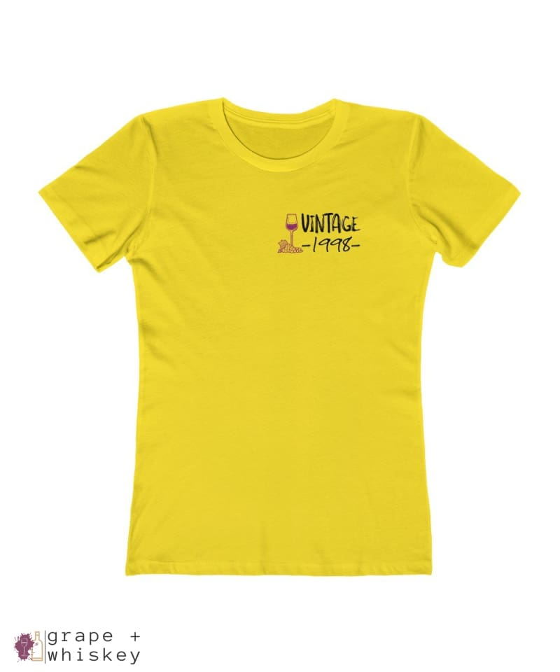 Vintage 1998 - 21st Birthday Women's Boyfriend Tee - Solid Vibrant Yellow / 2XL - Grape and Whiskey