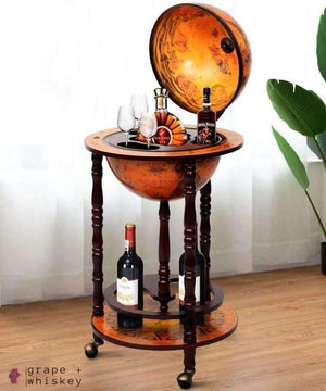 Vintage Globe Wine Stand (Bar) -  - Grape and Whiskey