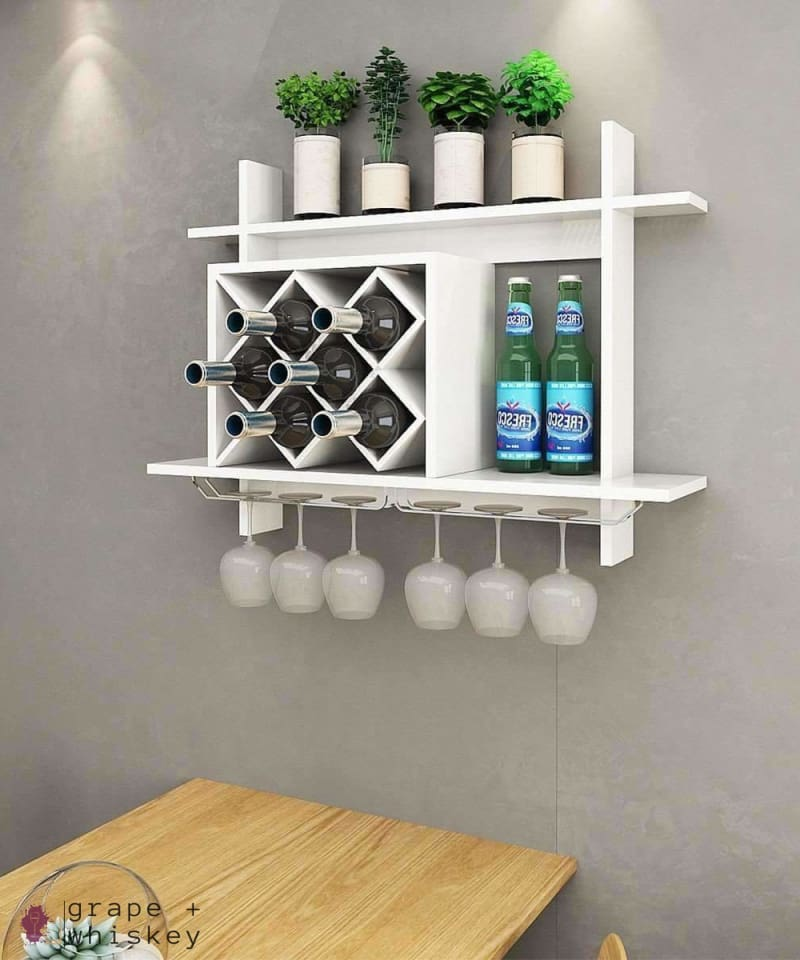 Wall Mount Wine Rack w/ Glass Holder & Storage Shelf - Grape + Whiskey - grapeandwhiskey.com