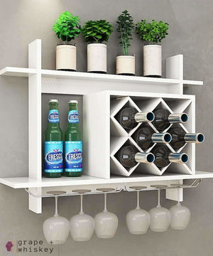 Wall Mount Wine Rack w/ Glass Holder & Storage Shelf -  - Grape and Whiskey