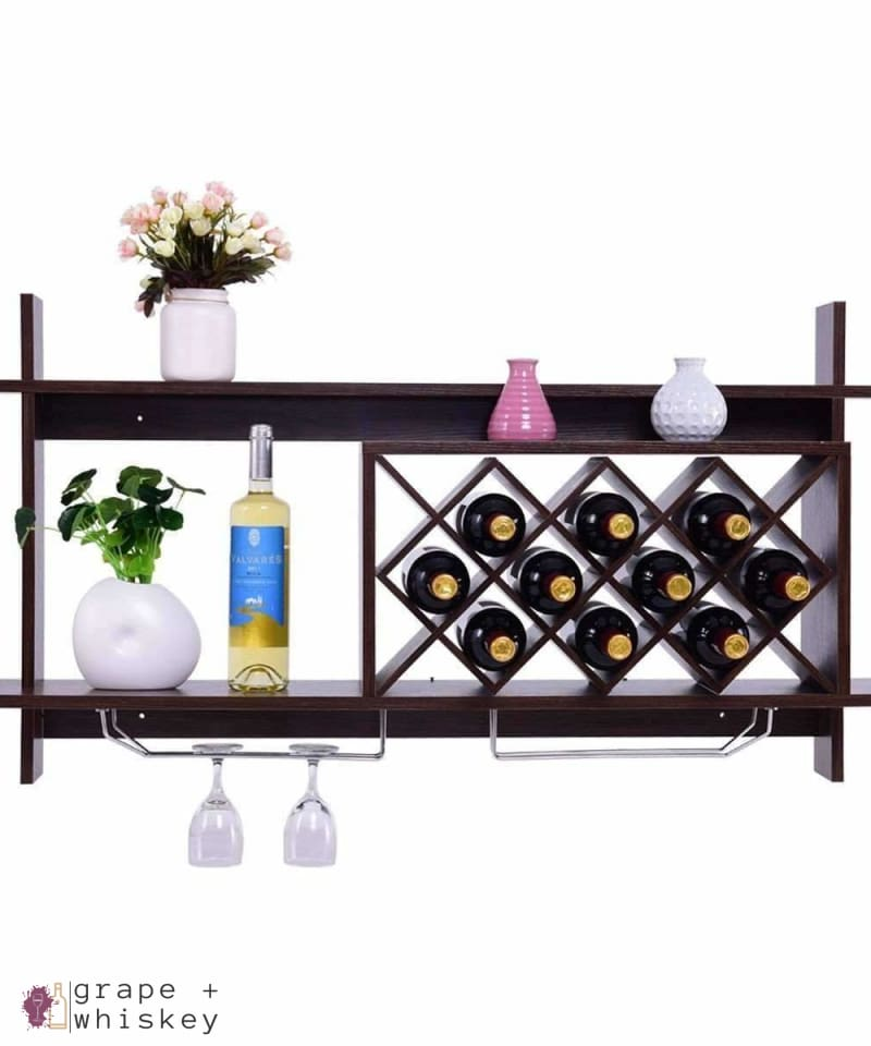 Wall Mount Wine Rack with Glass Holder & Storage Shelf - Walnut Finish -  - Grape and Whiskey