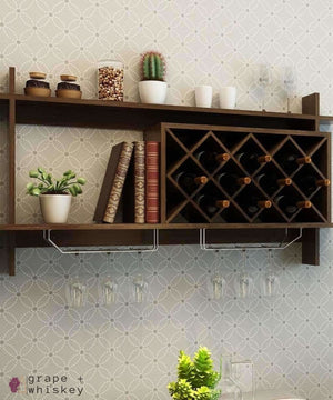 Wall Mount Wine Rack with Glass Holder & Storage Shelf - Walnut Finish - Grape + Whiskey - grapeandwhiskey.com
