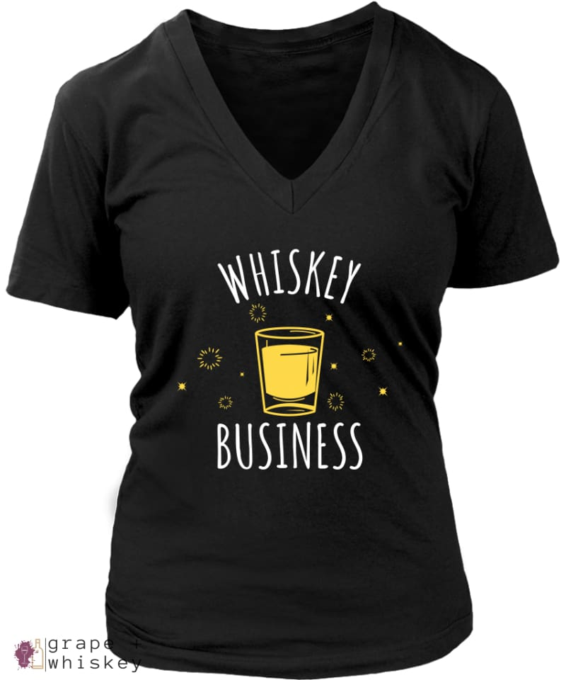 """Whiskey Business"" Women's V-Neck - District Womens V-Neck / Black / 4XL - Grape and Whiskey"