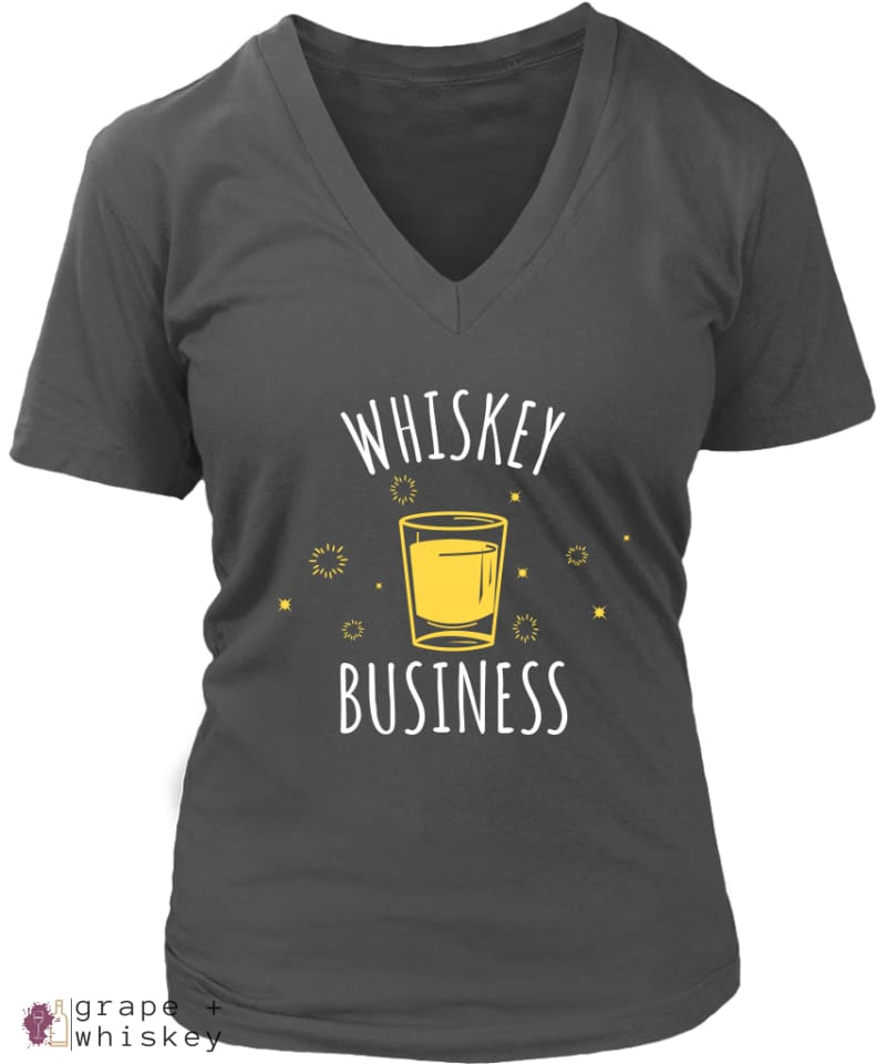 """Whiskey Business"" Women's V-Neck - District Womens V-Neck / Charcoal / 4XL - Grape and Whiskey"