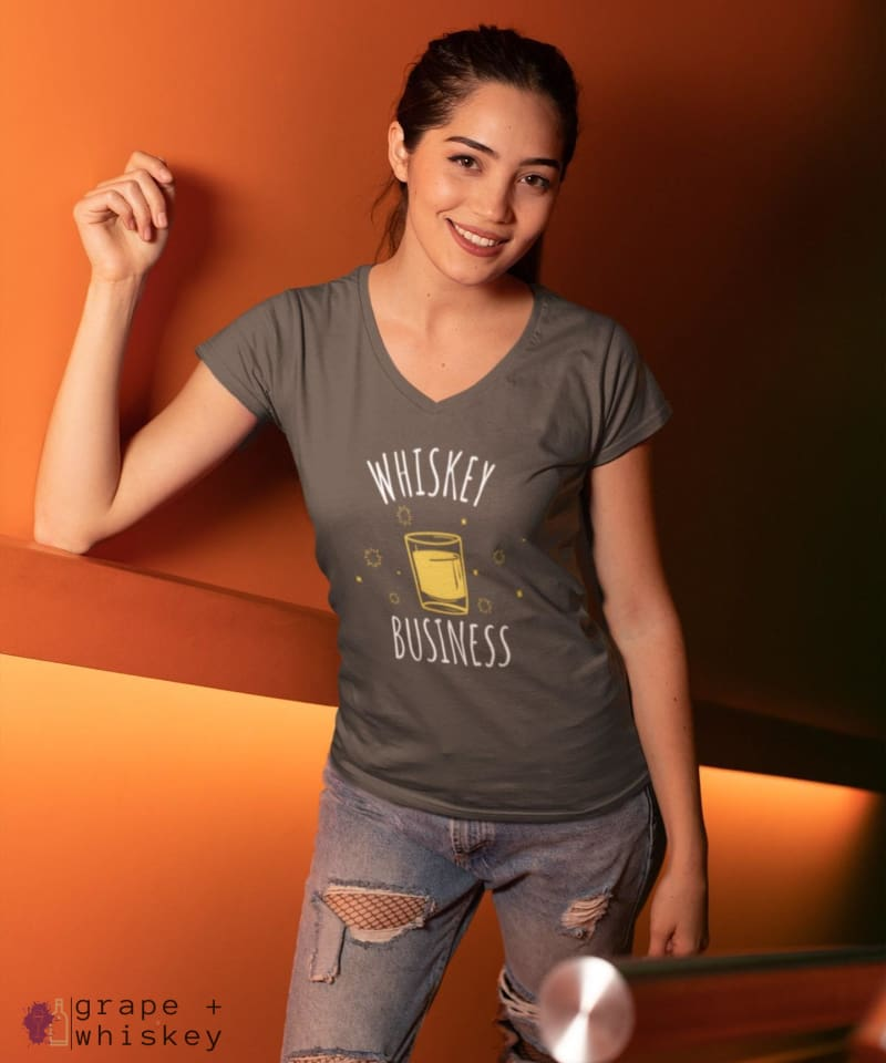 """Whiskey Business"" Women's V-Neck - District Womens V-Neck / Charcoal / S - Grape and Whiskey"