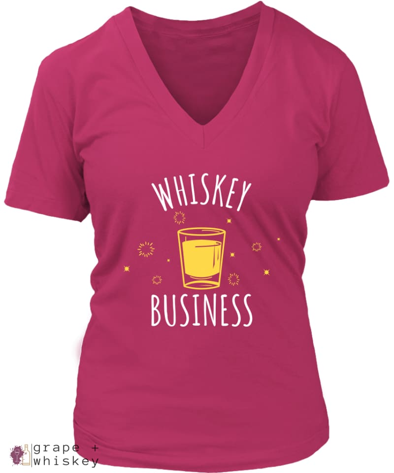 """Whiskey Business"" Women's V-Neck - District Womens V-Neck / Dark Fuchsia / 4XL - Grape and Whiskey"