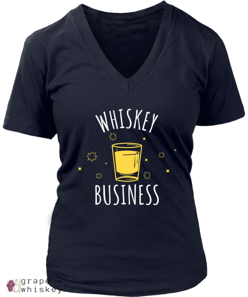 """Whiskey Business"" Women's V-Neck - District Womens V-Neck / Navy / 4XL - Grape and Whiskey"