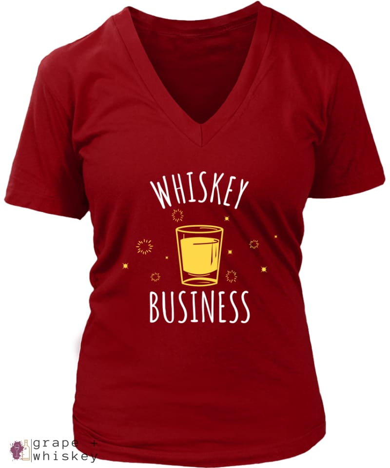 """Whiskey Business"" Women's V-Neck - District Womens V-Neck / Red / 4XL - Grape and Whiskey"