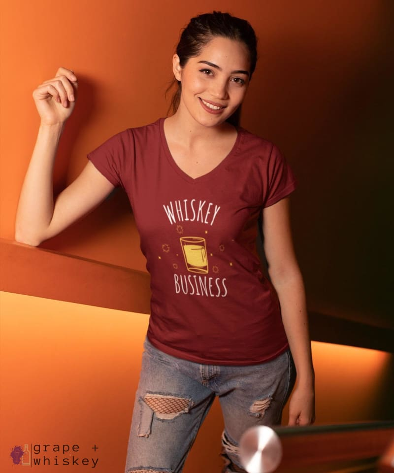 """Whiskey Business"" Women's V-Neck - District Womens V-Neck / Red / S - Grape and Whiskey"