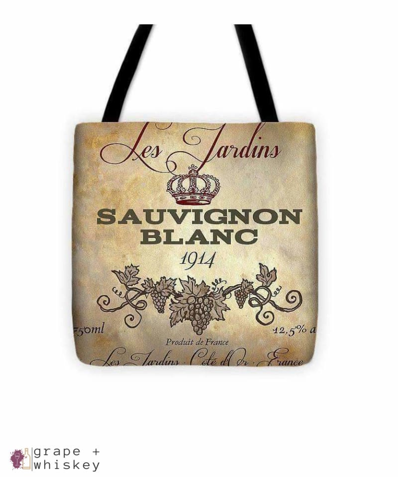 "Wine Label Vi Tote Bag - 13"" x 13"" - Grape and Whiskey"