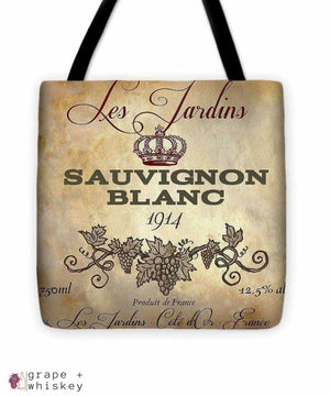 "Wine Label Vi Tote Bag - 16"" x 16"" - Grape and Whiskey"