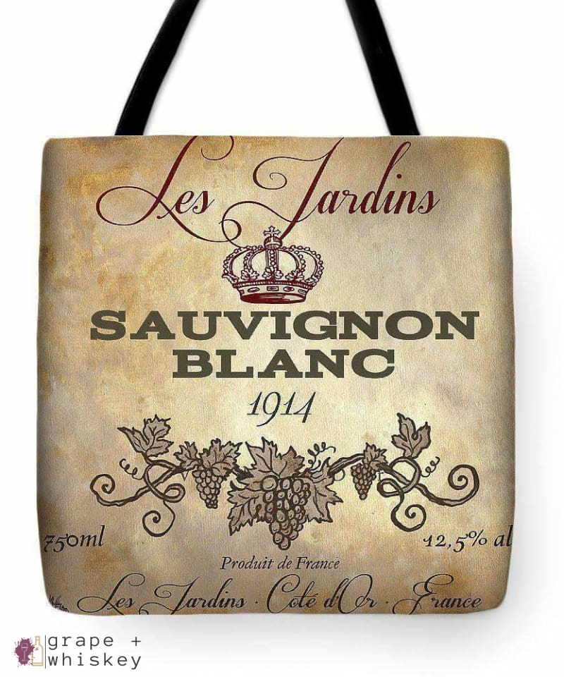 "Wine Label Vi Tote Bag - 18"" x 18"" - Grape and Whiskey"