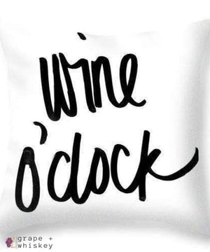 "Wine O'clock Throw Pillow - 26"" x 26"" / No - Grape and Whiskey"