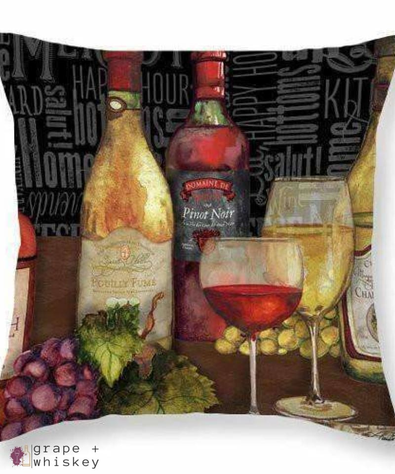 "Wine Still Life On Black Throw Pillow - 26"" x 26"" / No - Grape and Whiskey"