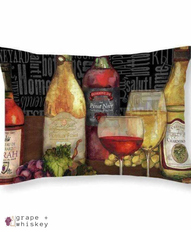 "Wine Still Life On Black Throw Pillow - 20"" x 14"" / No - Grape and Whiskey"