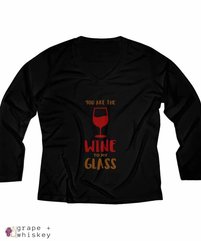 Wine to my Glass Women's Long Sleeve Performance V-neck Tee - Black / 4XL - Grape and Whiskey