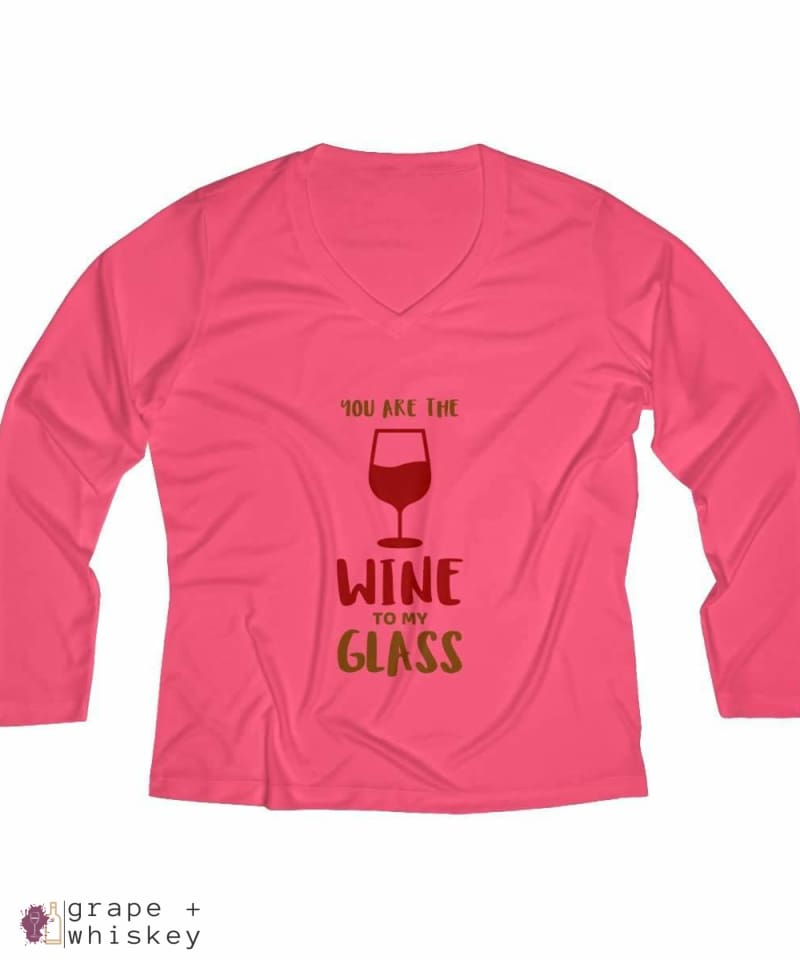 Wine to my Glass Women's Long Sleeve Performance V-neck Tee - Hot Coral / 4XL - Grape and Whiskey