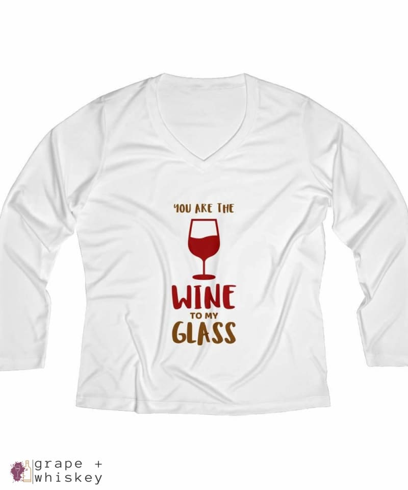 Wine to my Glass Women's Long Sleeve Performance V-neck Tee - White / 4XL - Grape and Whiskey