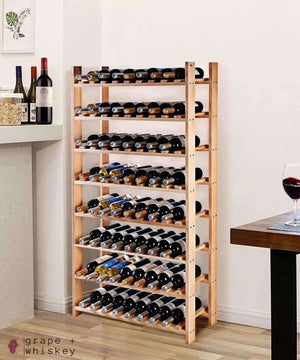 Wooden Wine Holder Bottle Rack for 120 Bottles -  - Grape and Whiskey