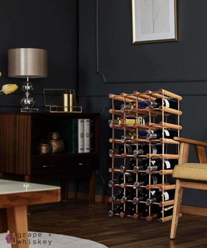 Wooden Wine Holder Bottle Rack for 40 Bottles -  - Grape and Whiskey