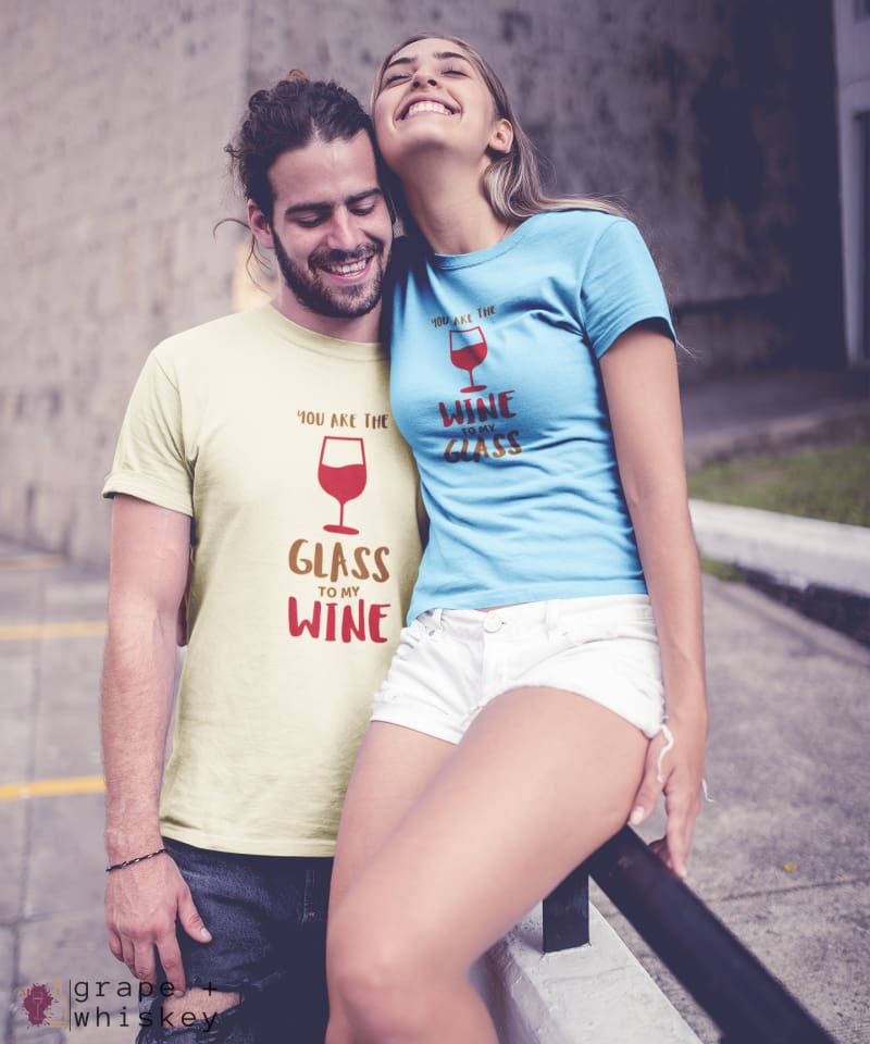 """You are the Glass to My Wine"" Short Sleeve Tee - Natural / L - Grape and Whiskey"