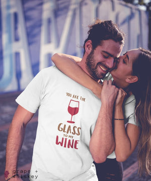 """You are the Glass to My Wine"" Short Sleeve Tee - Solid White Blend / L - Grape and Whiskey"