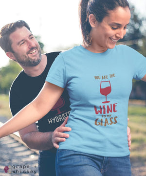 """You are the Wine to my Glass"" Short Sleeve Tee - Baby Blue / L - Grape and Whiskey"