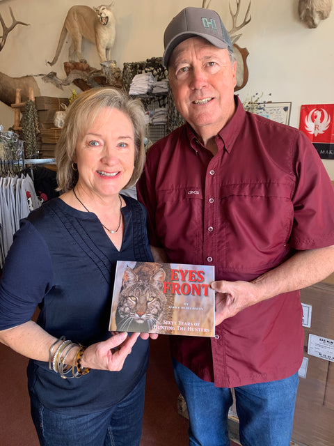 Gary and Deb Roberson pictured with Gary's new book Eyes Front