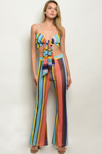 BLUE MULTI STRIPES TOP & PANTS SET