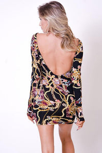 Mini Dress Low Back Long Sleeve