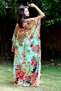 Beautiful One Piece Jewelled Full Length Resort Wear Beach Coverup Kaftan Dress Silk Kaftan Evening Maxi Gown 39