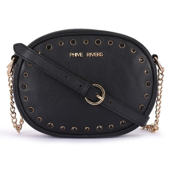 Phive Rivers Women's Leather Black Crossbody Bag