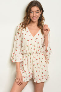 Womens Cream W/ Flowers Print Romper