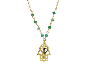 Green Jade Golden Hamsa Hand Necklace