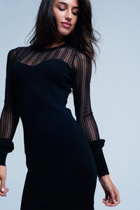 Black Glitter Mesh Bodycon Dress with Ruffled Sleeve