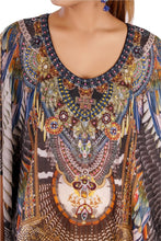 Load image into Gallery viewer, Something Exotic and Elegant Tribal Print Over Maxi Long Silk Kaftan Boho Style