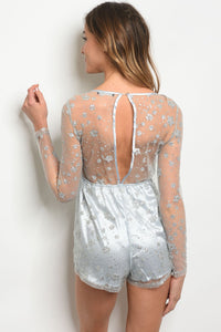 Light Blue Silver Romper