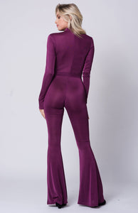Long Sleeve Keyhole Solid Jumpsuit