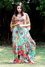 Load image into Gallery viewer, Beautiful One Piece Jewelled Full Length Resort Wear Beach Coverup Kaftan Dress Silk Kaftan Evening Maxi Gown 39